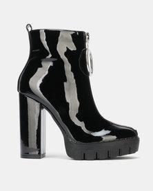 Public Desire Legassy Heeled Ankle Boots Black Patent