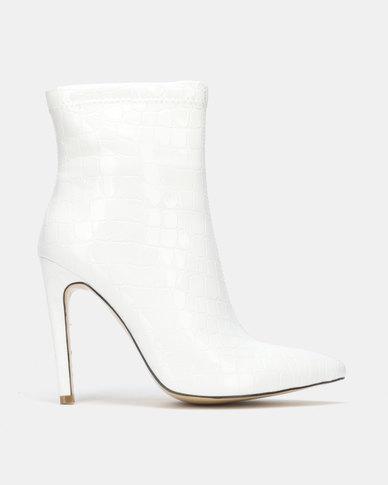 Public Desire Revive Heeled Ankle Boots White Patent Croc
