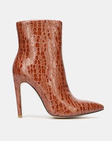 Public Desire Revive Heeled Ankle Boots Tan Patent Croc