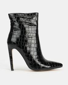 Public Desire Revive Heeled Ankle Boots Patent Croc Black