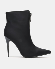 Public Desire Techno Heeled Ankle Boots Black Lycra