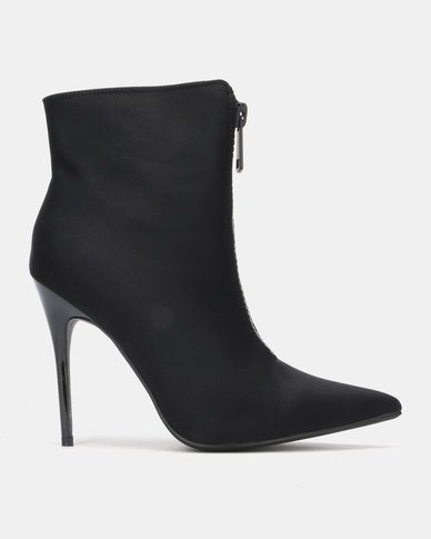 Public Desire Techno Heeled Ankle Boots Black Lycra
