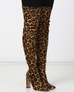244904874 Public Desire Pernille Heeled Over the Knee Boots Leopard Faux Suede