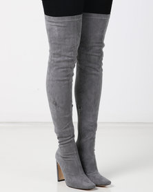 Public Desire Pernille Heeled Over the Knee Boots Grey Faux Suede