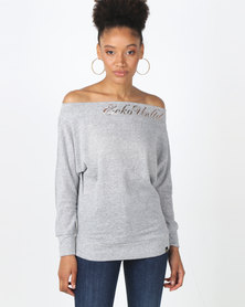 ECKÓ Unltd Off Shoulder Cut & Sew Top Grey