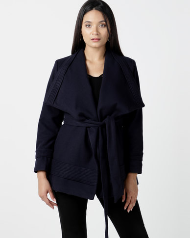 Utopia Shawl Collar Melton Jacket With Belt Navy