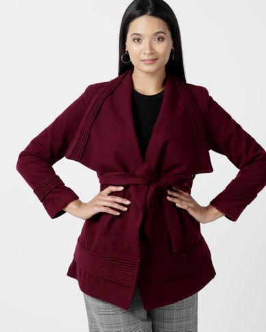 Utopia Shawl Collar Melton Jacket With Belt Burgundy