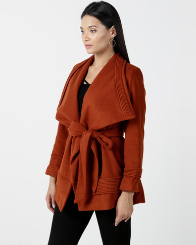 Utopia Shawl Collar Melton Jacket With Belt Rust
