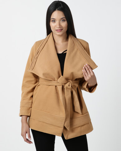 Utopia Shawl Collar Melton Jacket With Belt Camel
