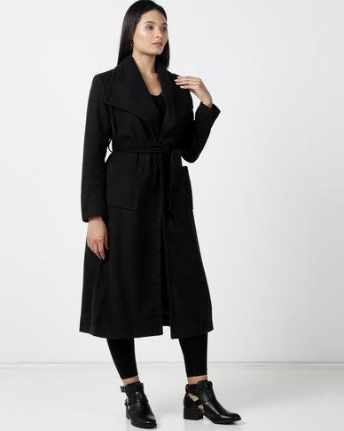 Utopia Melton Coat With Belt Black