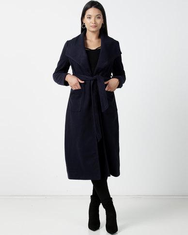 Utopia Melton Coat With Belt Navy