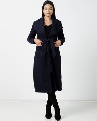 Utopia Melton Coat With Belt Navy
