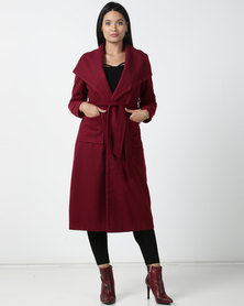 Utopia Melton Coat With Belt Burgundy