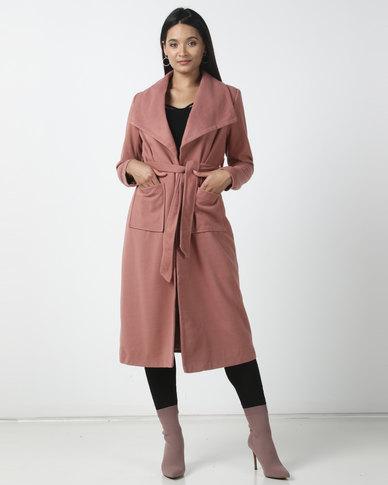 Utopia Melton Coat With Belt Blush