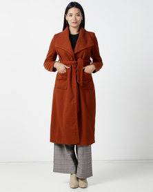 Utopia Melton Coat With Belt Rust