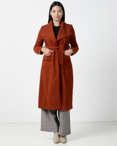 Utopia Melton Coat With Belt Rust