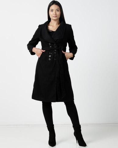 Utopia DB Melton Coat Black