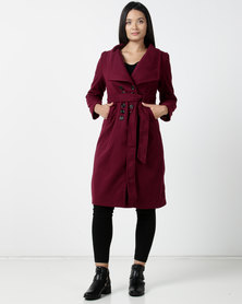 Utopia DB Melton Coat Burgundy