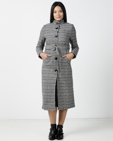 Utopia Check Coat With Belt Black/White