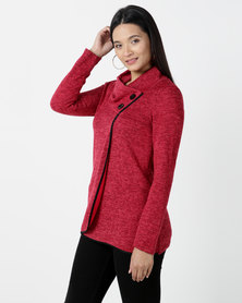 Contempo Cowl Neck Top With Mock Wrap Red