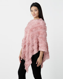 Contempo Fur Panelled Poncho Pink