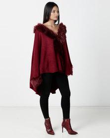 Contempo Fur Trim Wrap Burgandy