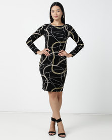 Contempo Printed Liverpool Dress Black