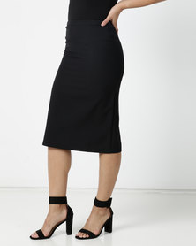 Contempo Mec Pencil Elastic Skirt Black
