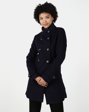 Utopia DB Funnel Neck Melton Coat Ink Blue