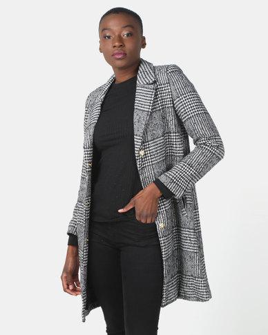 Utopia Check Classic Melton Coat Black/White