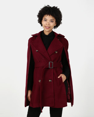 Utopia Belted Cape Jacket Burgundy