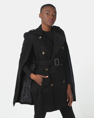 Utopia Belted Cape Jacket Black