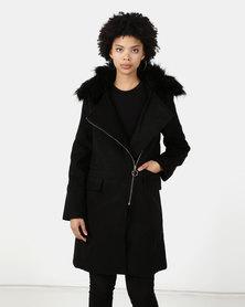 Utopia Melton Coat With Faux Fur Trim Black