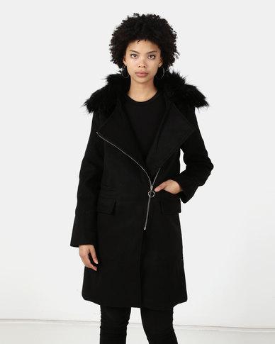 Utopia Melton Coat With Faux Fur Trim Black