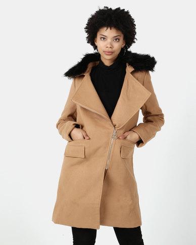Utopia Melton Coat With Faux Fur Trim Camel