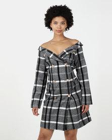 Utopia Check Tweed Blazer Dress Black/White