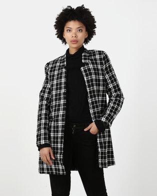 Utopia Boucle Notch Neck Coat Black/White