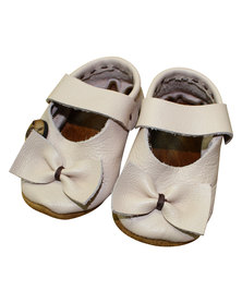 Razberry Kids Pale Pink Bow Detail Leather Baby Girls Shoes