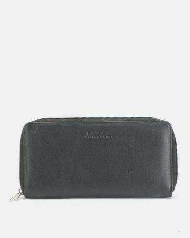 Bossi Nappa Single Zipper Leather Wallet Black