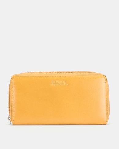 Bossi Nappa Single Zipper Leather Wallet Mustard