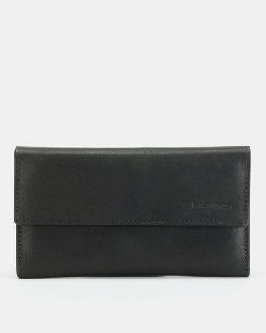 Bossi Antique Leather Card Case Black