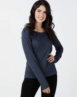 Utopia Long Sleeve Basic T-shirt Navy