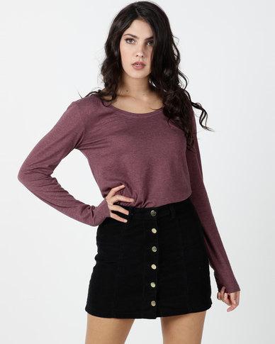 Utopia Long Sleeve Basic T-shirt Maroon