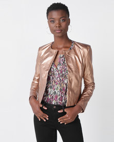 Utopia PU Biker Jacket Rose Gold