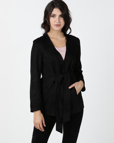 Utopia Sueded Tie Front Jacket Black