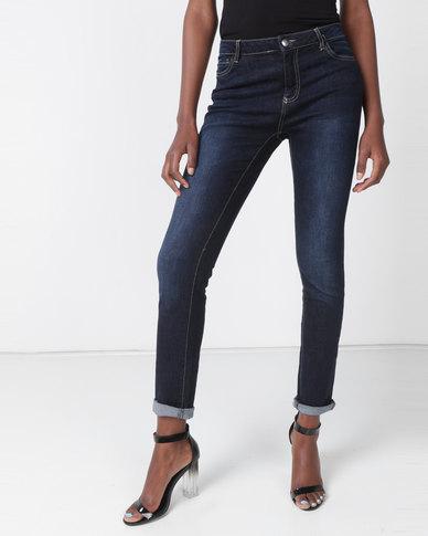 Utopia Dark Wash Skinny Leg Jeans Blue