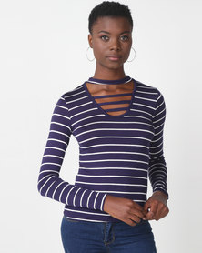 Utopia Stripe Choker Knit Top Navy/White
