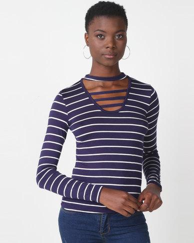 Utopia Stripe Choker Knit Top Navy/White