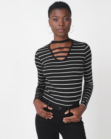 Utopia Stripe Choker Knit Top Black/Multi