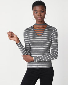 Utopia Stripe Choker Knit Top Grey/White